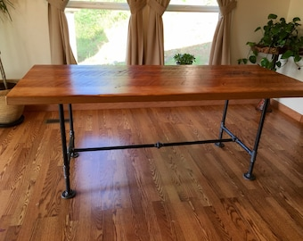 Reclaimed wood and pipe table. Industrial table. Black iron pipe table. Reclaimed wood table. Rustic table. Industrial office table.