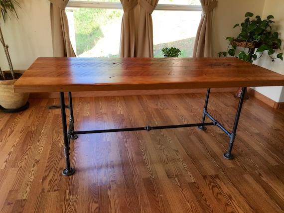Table Bois Et Tuyau Recupere Table Industrielle Table De Tuyau De Fer Noir Table En Bois Recupere Table Rustique Table De Bureau Industriel