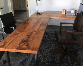 L-shaped Desk. Reclaimed wood desk. Wood and steel desk. Industrial desk. Corner desk. Old desk. Rustic Desk. Executive desk. Office Desk.