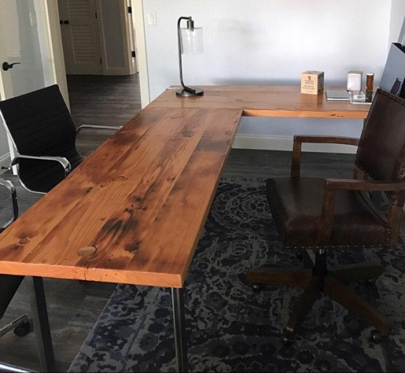 Free shipping L-shaped Desk  Reclaimed wood desk  Wood and steel desk   Industrial desk  Corner desk  Old desk  Rustic Desk  Executive desk