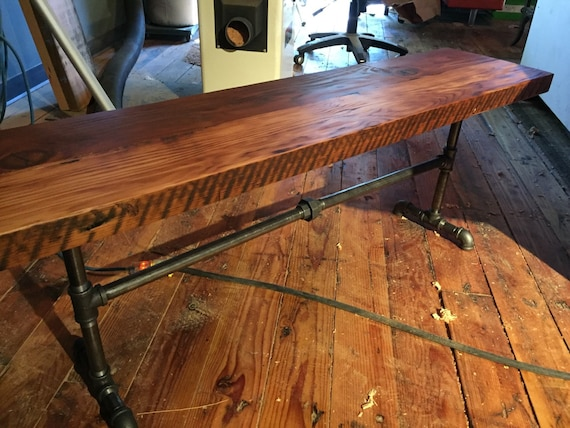Reclaimed Wood Black Pipe Bench Industrial Bench Wood
