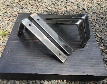 "Shelf brackets. 1 1/2"" brackets. Industrial brackets. Metal brackets. Iron brackets. Steel brackets. 2 piece bracket set. Flat bar brackets."