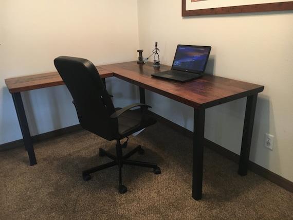 Bureau en forme de l bureau bois récupéré ancien bureau etsy