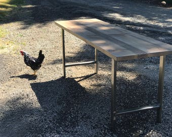 Reclaimed wood table. Industrial table. Confrence table. Reclaimed wood desk. Industrial desk. Rustic table. Outdoor table. H-Shape Legs.