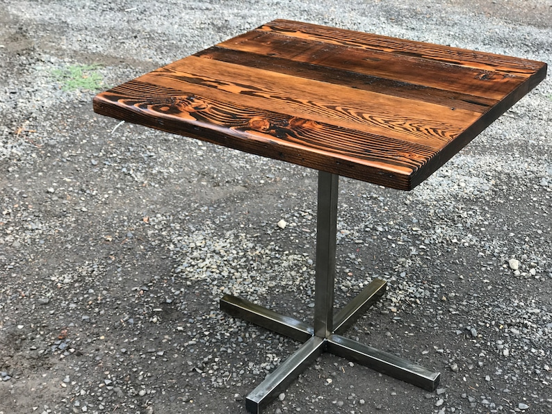 Delicieux Industrial Pub Table. Bar Table. Reclaimed Wood Table. Restaurant Table.  Bistro Table. Pedestal Table. Dining Table. Industrial Cafe Table.