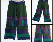 Patchwork Peacock. Upcycled T-shirt Pants, Size: Medium, Blue, Teal, Purple, Green