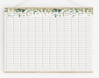 Perpetual Birthday Calendar, wall planner botanical - leaves green calendar 18x24 24x36 A2 50x70 70x100
