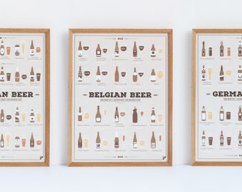 Father's Day Gift - Set of 3 Beer Prints 11x14 12x16 16x20 18x24 24x36 - beer gift, beer lover, beer chart, beer styles poster