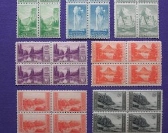 Stamps...Vintage U.S. National Parks Stamps...7 Blocks of four each...mint, unused, original gum (glue).