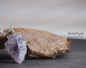 Raw Amethyst Necklace,Arrowhead Necklace,Boho Necklace,Gypsy Necklace,Tribal Jewelry,Layering Necklace,Healing Crystal,Perfect Gift,Crystal