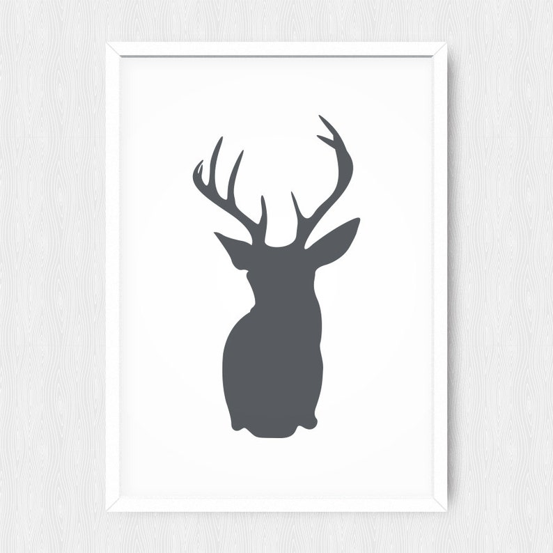 image relating to Deer Head Silhouette Printable identified as Dim Gray Deer Thoughts Print, Wall Print, Wall Decor, Grey, Antlers, Deer Mind Silhouette, Printable, Electronic Poster Print, Prompt Obtain