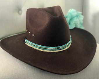 51ad188babfb93 Brown faux suede cowboy hat/women's hats/felt cowboy hat/cowgirl/western  clothing/ jewlery/woman's brown and turquiose cowboy hat