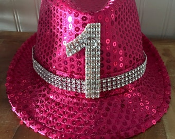 Birthday Hat First 1 Year Old 2 3 Bling Tiarra Party Pink Hot