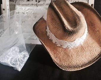 f736d142822 Cowboy hat-veils-Cowgirl-Bride-cowboy hat-bride- cowgirl hat-bridal veil -weddings-bachelorette party-bachlorette-hat-weddings- bride