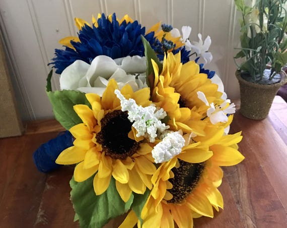 Sunflower Bouquet Royal Blue And Yellow Weddings Etsy