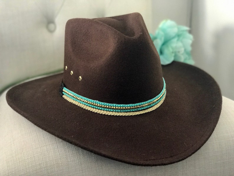 d4c7e83af Brown faux suede cowboy hat/women's hats/felt cowboy hat/cowgirl/western  clothing/ jewlery/woman's brown and turquiose cowboy hat