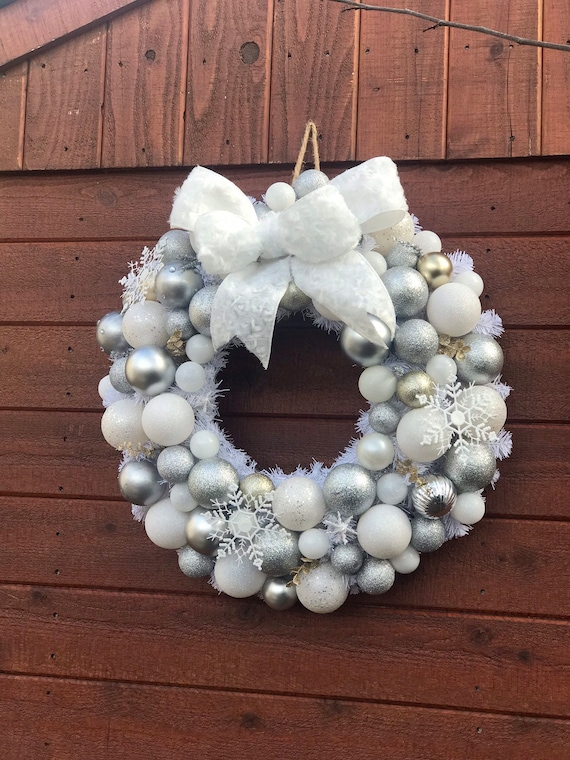 White Wreath Christmas Silver And White Wreath Christmas Etsy