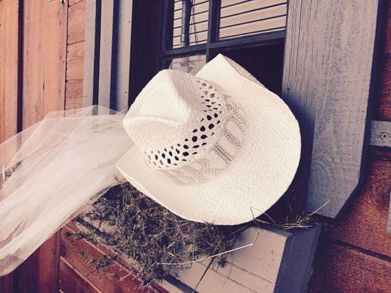 Bride hat with veil White Shantung straw cowboy hat white  af992971981a