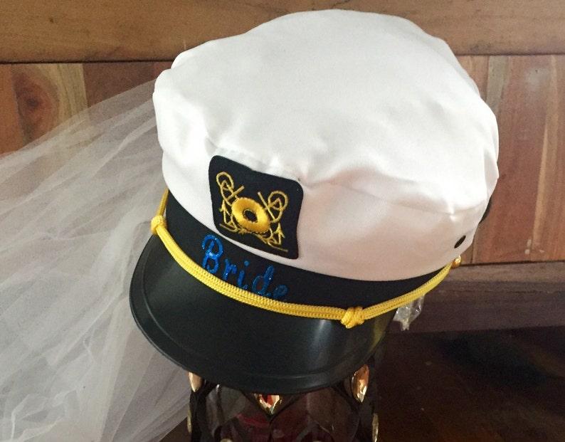 bridesmaid Nautical-wedding-bridal-captain hat-bride-hat-bride hat with veil-bachelorette-blue