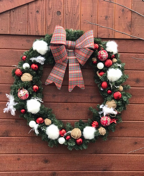 Large Christmas Wreath Plaid Christmas Colors 2018 Trendy Etsy