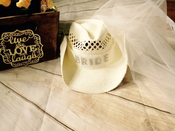 25777c48aa7 bachelorette cowgirl hat with veil-bride hat-cowboy