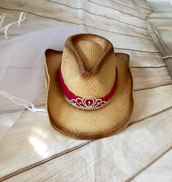 f74106f56b4 cowgirl hat bachrlorette veil cowgirl hat bride hat with