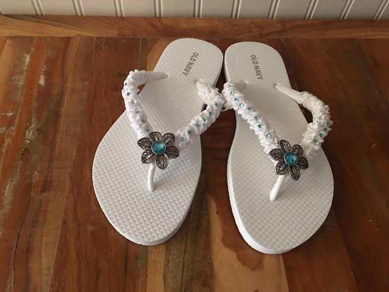 d11431a50 Bridal flip flops something blue wedding sandals aqua