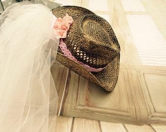 Pink, Bachelorette veil,  western cowgirl hat, vintage bride,  cowboy hat, future wifey, bachelorette