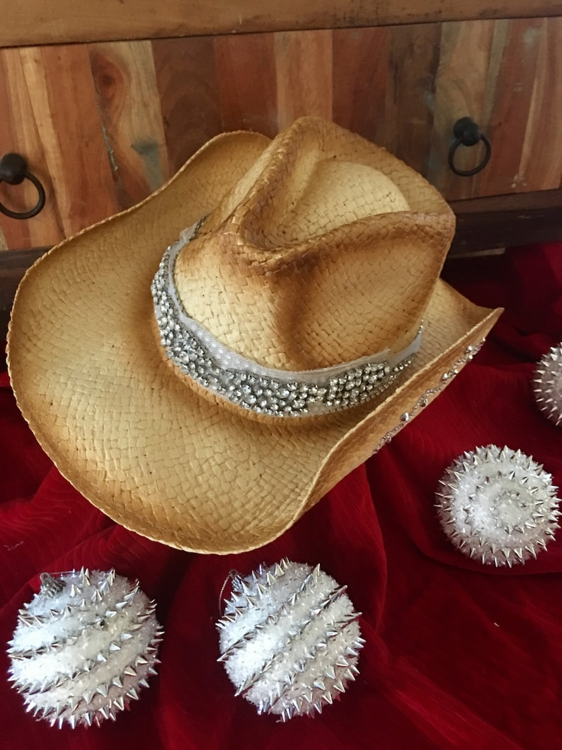 cc95c4be51c64 Bling cowboy hat-tea stained cowgirl hat-rhinestone