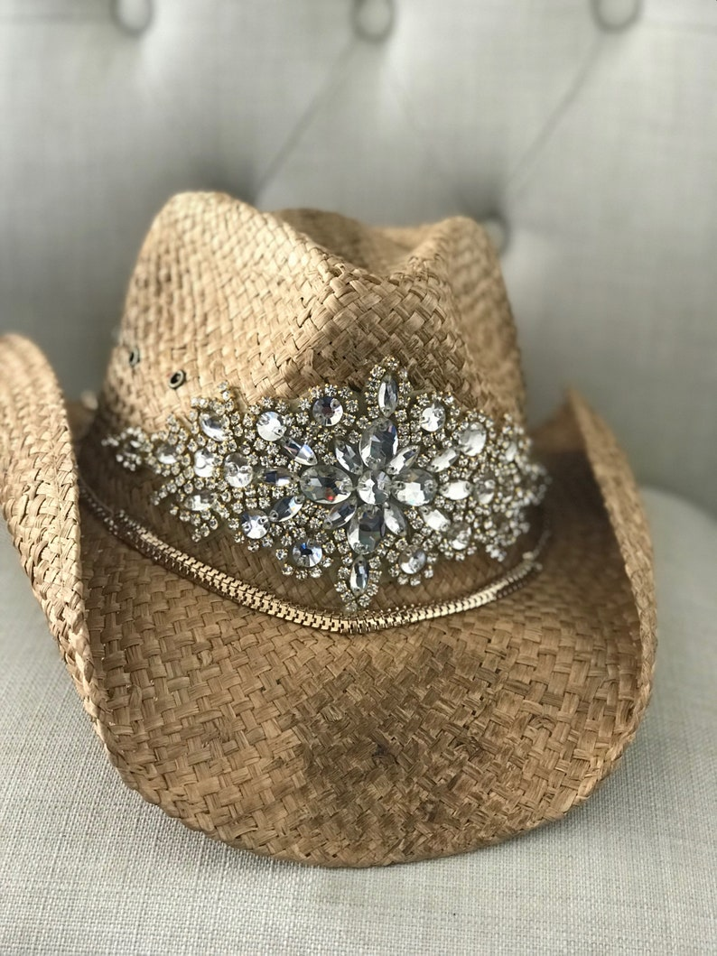 29fc565153d Tea stained cowboy hat gold rhinestone appliqué bling hats