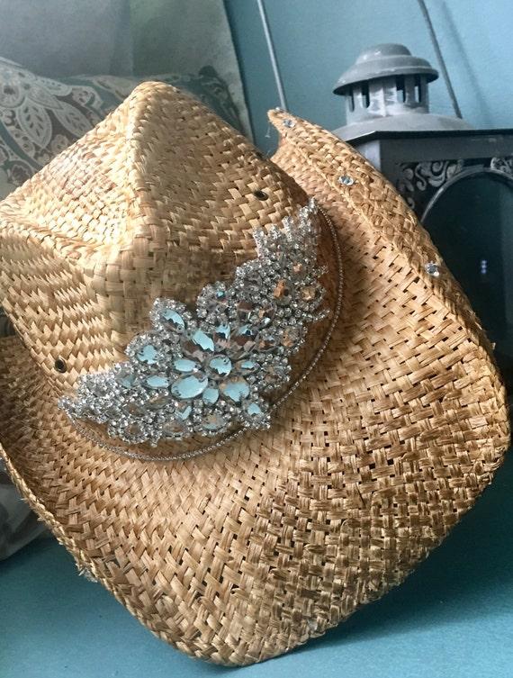 c50e75e47b0 Tea stained cowboy hat rhinestone appliqué bling hats