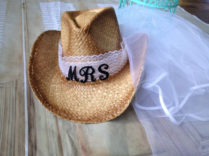 973fe2bdd Mrs-bridal-cowboy hat-bride -cowgirl hat-bride hat with  veil-bachelorette-Mrs to be
