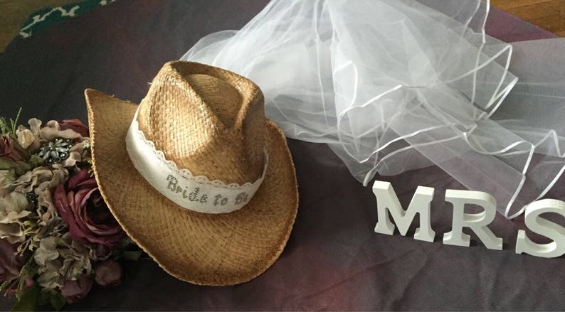 6b09b08f1 Western-Cowgirl-Bride-cowboy hat-bride- cowgirl hat-bridal  veil-weddings-bachelorette party-bachlorette-hat-weddings-country, nashville