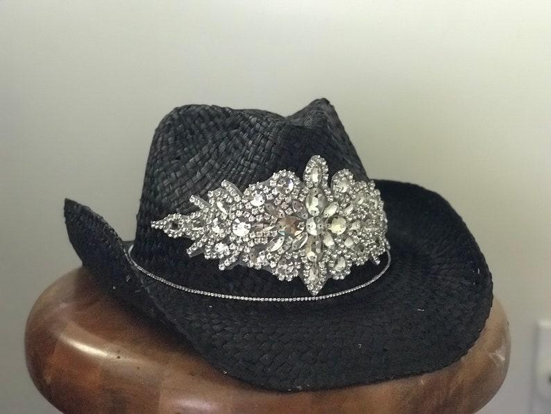 f57422192fa Black cowboy hat rhinestone appliqué bling hats swarsovski