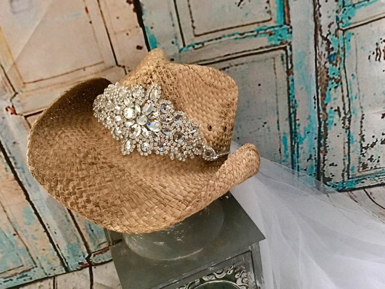 bride hat with veil rhinestone appliqu\u00e9 Bachelorette veil Tea stained cowboy hat designer straw hat swarsovski crystals bling hats
