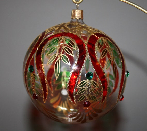 Waterford Christmas Ornaments.Waterford Holiday Heirlooms Glass Christmas Ornament Swarovski Crystals Peacock Ball