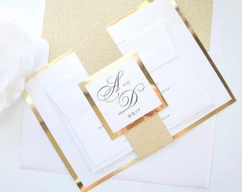 Gold wedding invite etsy gold foil wedding invitations mirrored wedding invitation metallic gold glitter wedding invitation set sample set junglespirit Images