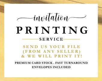 Printing Service, Invitation Printing, 5 x 7 Card Printing, Wedding Invitation Template Printing, File Printing Service