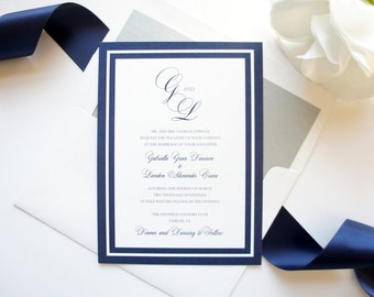 Navy and Gray Wedding Invitations, Navy and Silver Wedding Invitation, Custom Printed Wedding Invitation Set - Deposit