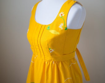 Vintage Carrol Reed of New Hampshire Cotton 1950s/1960s Dress, Yellow Sundress