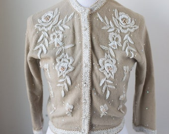 Vintage Beaded Wool Rabbit Hair Cardigan Sweater, XS, Made in Japan, McMullen