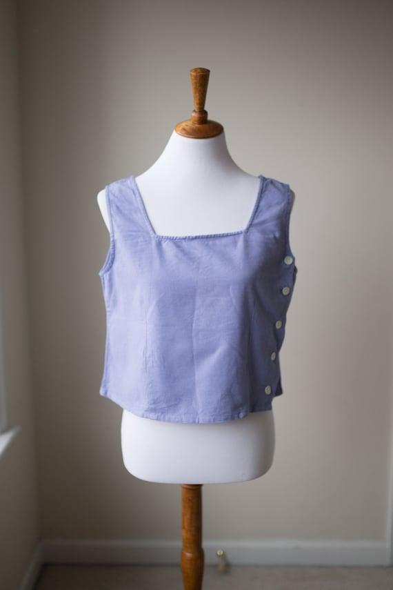 Vintage Boxy Cropped Linen Top | Linen Cotton Blen