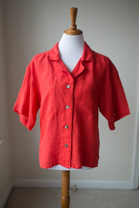 Vintage Red Linen Short Sleeve Blouse | Linen Butt