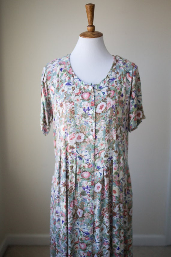 Vintage Long Floral Dress | Botanical Dress | Gard
