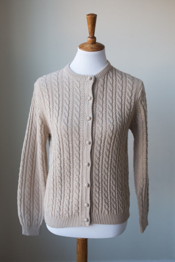 Vintage Cable Knit Cardigan | Neutral Cardigan