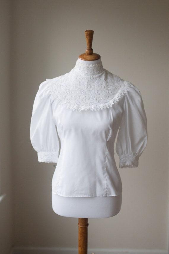 Vintage White Peasant Blouse |  Candy Jones Lace C