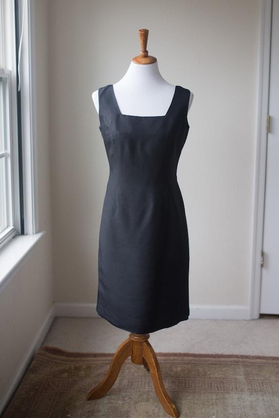 Vintage Black Silk Sheath Dress | Silk Shift Dress