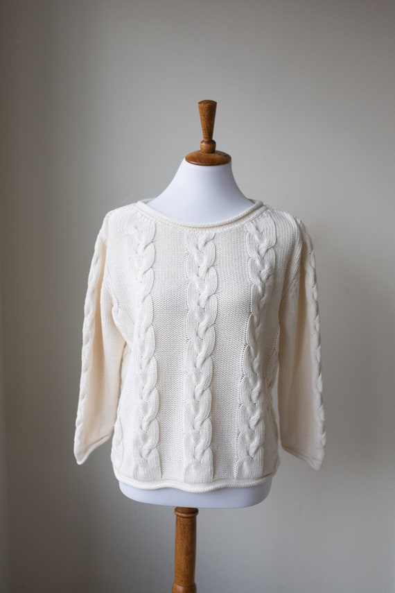Vintage Cotton Boatneck Sweater | Spring Sweater |