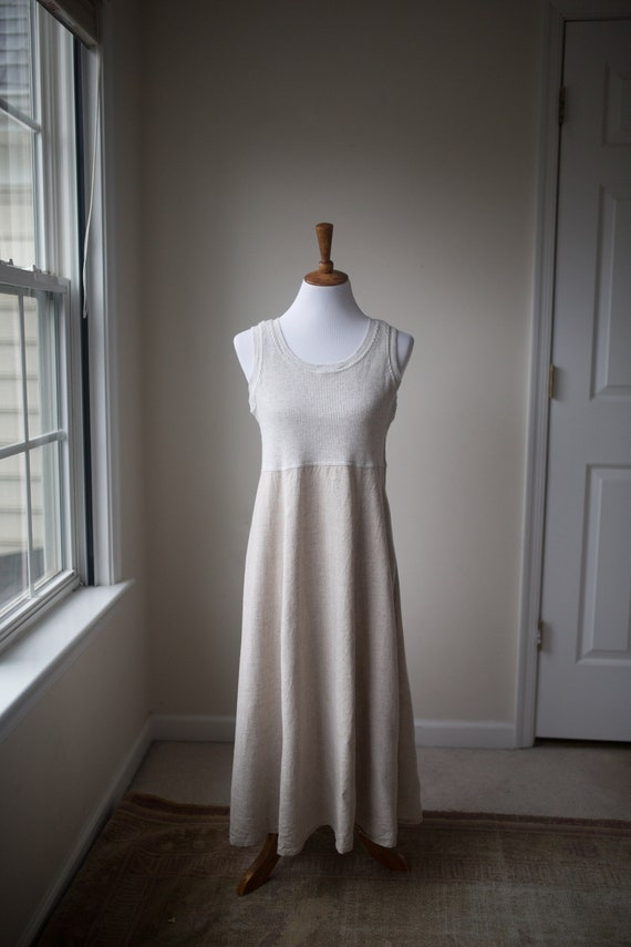 Vintage Long Linen Dress | Linen Blend Dress | Lin