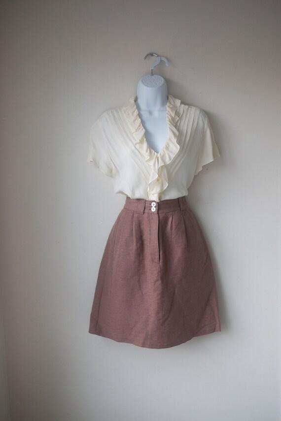 Vintage High Waisted Linen Skirt | High Rise Mini
